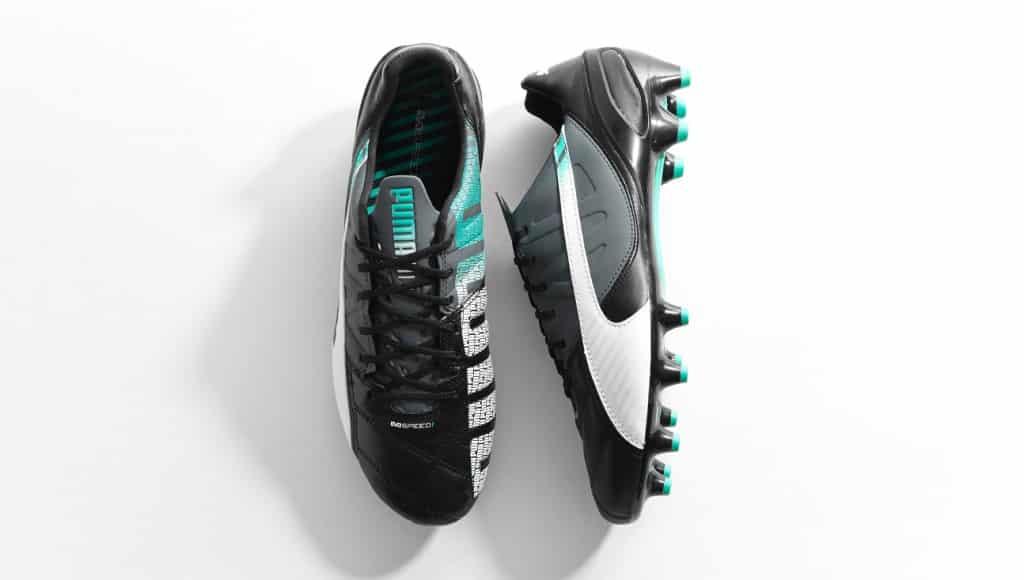 chaussure-puma-evospeed-cuir-noir-turquoise