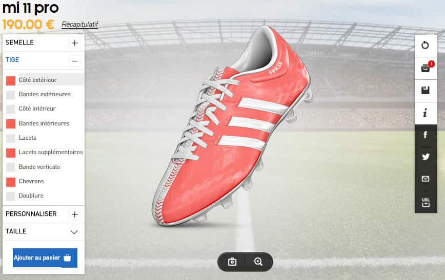 adidas personnaliser chaussure foot