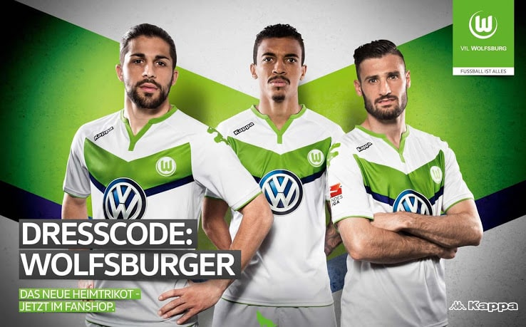 2ème de la Bundesliga cette saison, Wolfsbourg vient de dévoiler son nouveau maillot domicile pour la saison 2015-2016, équipé par Kappa.