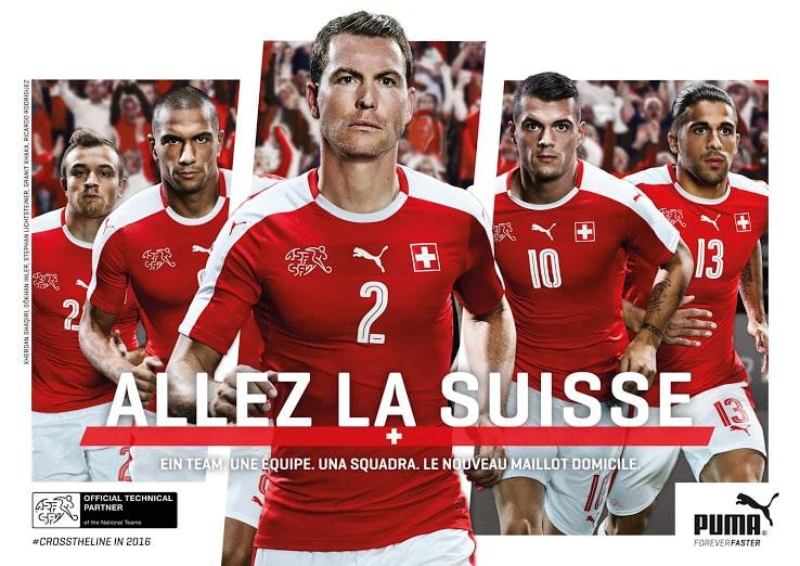 Équipé par l'équipementier allemand Puma, la Suisse vient de dévoiler son nouveau maillot domicile pour l'Euro 2016