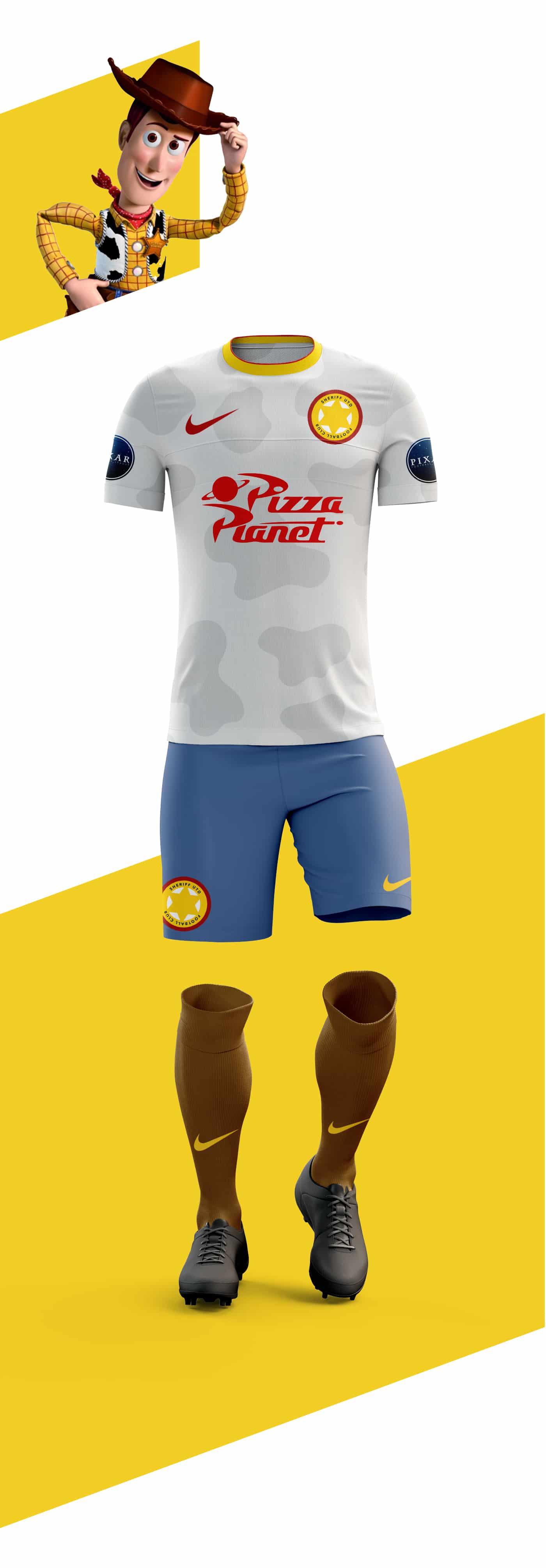 Néo, Buzz l'Eclair, Woody le Shérif, Dory. Et si Pixar se lançait dans le football ? C'est ce que Martin Turner a imaginé avec ces maillots de football.