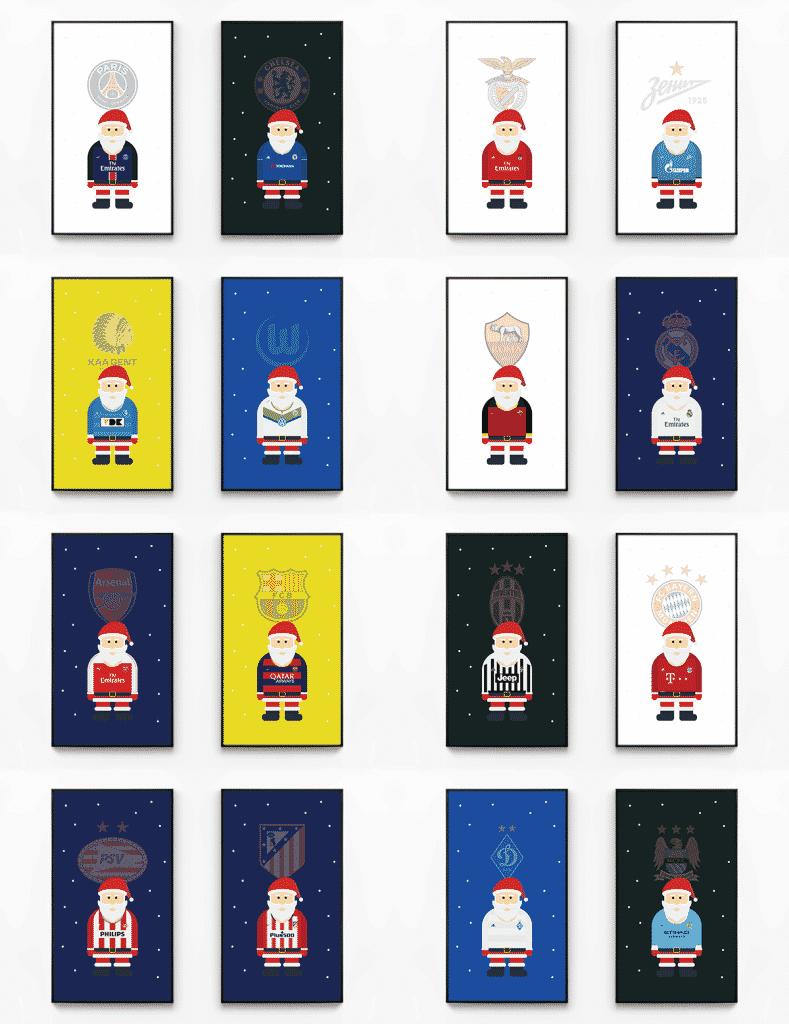 En cette période de fête, Jinwoo Kim a imaginé des Pères Noël habillé des maillots des 16 finalistes de la Ligue des Champions.
