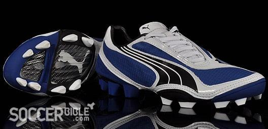 chaussure-football-Puma-v108-blanc-bleu