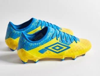 Au tour de la Velocita 3 d'Umbro de porter le coloris «jaune/bleu électrique»