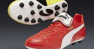 Image de l'article La Puma King Top 98de Rigobert Song : l'une rouge, l'autre jaune.