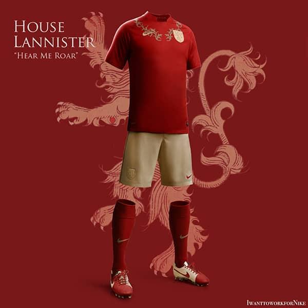 """A quoi ressemblerait les maillots si les clans ou les maisons de """"Game of Thrones"""" étaient une équipe ? Voici la réponse en images."""