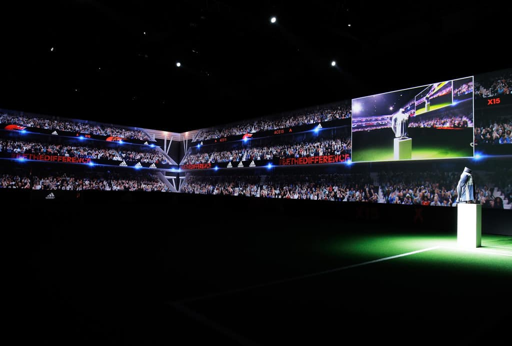 PARIS, FRANCE - NOVEMBER 12: Creators reveal the adidas Sweden away kit for the UEFA 2016 Euro Championship(TM) at the World's first digital stadium, The Future Arena on November 12, 2015 in Paris, France. (Photo by Adam Pretty/Getty Images)
