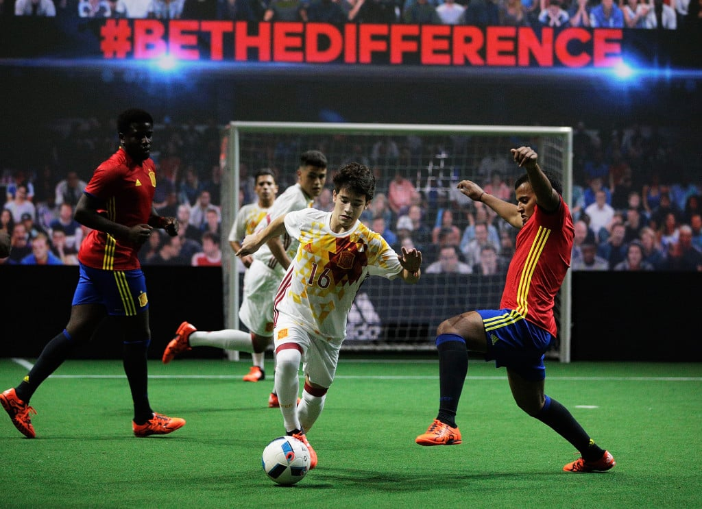 PARIS, FRANCE - NOVEMBER 12: Creators reveal the adidas Spain away kit for the UEFA 2016 Euro Championship(TM) at the World's first digital stadium, The Future Arena on November 12, 2015 in Paris, France. Playing with Beau Jeu the Official Match Ball of the UEFA 2016 Euro Championship (Photo by Adam Pretty/Getty Images)
