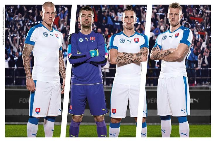 Qualifiée pour l'Euro 2016 qui se déroulera en France l'été prochain, la Slovaquie et Puma viennent de dévoiler les nouvelles tenues de la sélection.