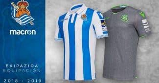 Image de l'article Macron et la Real Sociedad dévoilent les maillots pour la saison 2018-2019