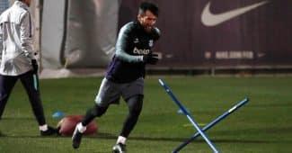 Image de l'article #BootsMercato : Lionel Messi en chaussures masquées lors d'un entraînement avec le Barça