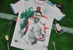 Image de l'article Un maillot de l'Algérie devient un tableau avec Riyad Mahrez