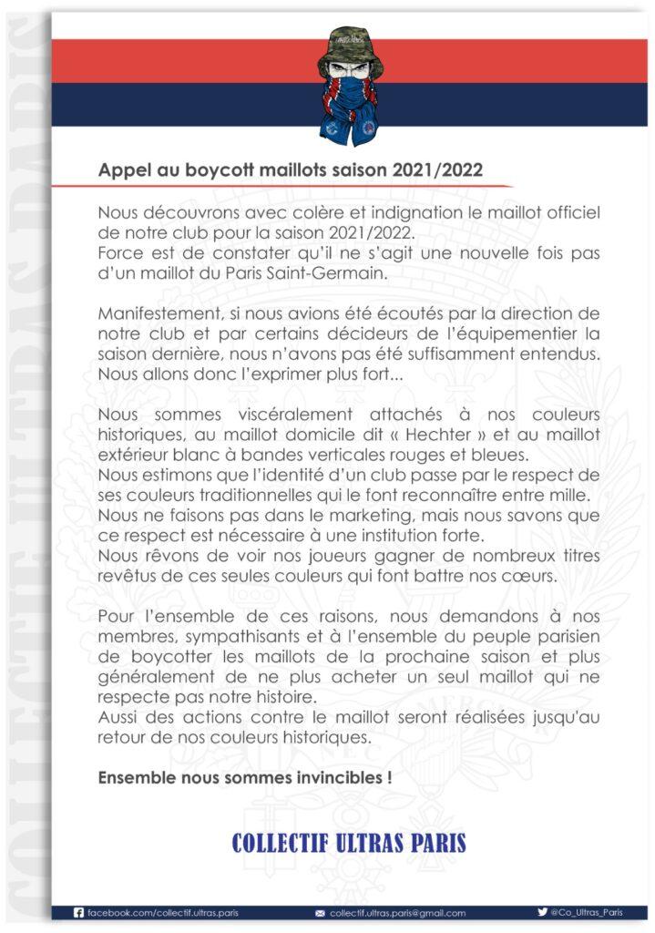 Appel au boycott supporter PSG