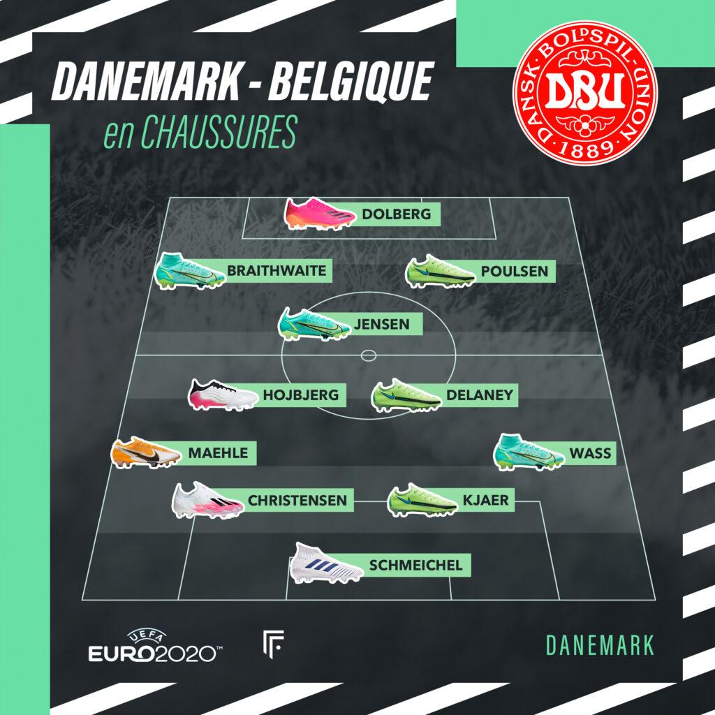Compo Danemark Belgique en crampons