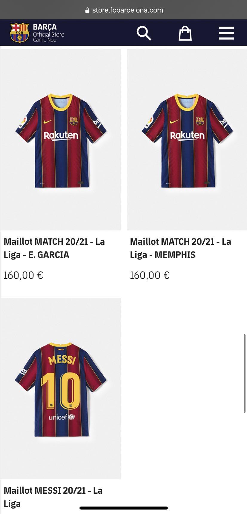 Maillot Memphis Depay FC Barcelone
