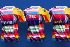 Image de l'article Hummel dévoile un maillot d'échauffement arc-en-ciel pour Everton, Southampton et Brondby